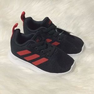 Adidas Black Red Toddler Shoes Striped slip on